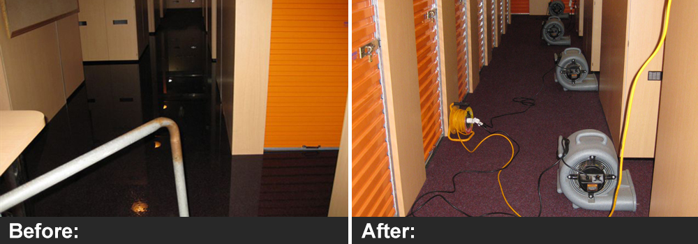 Commercial water damage and flooding before and after